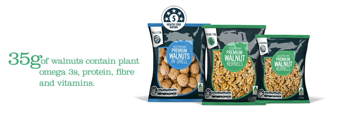 35 grams of walnuts contain plant omega 3s protein, fibre and vitamins