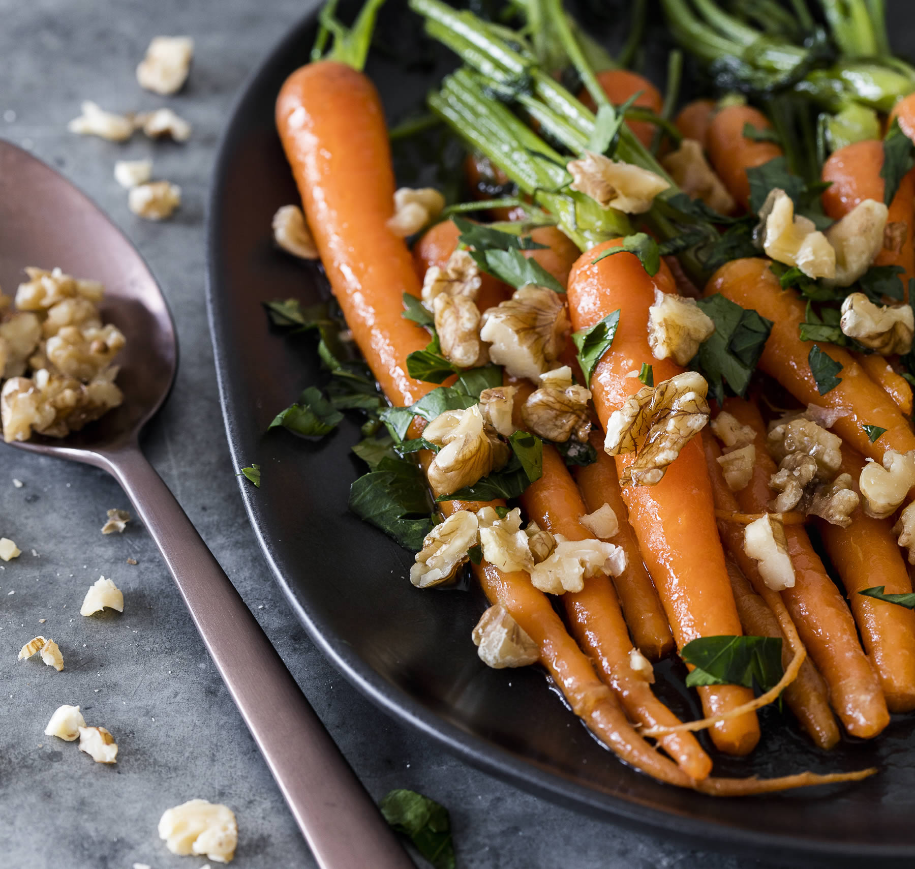 Maple glazed walnuts & carrots