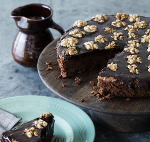 Flourless walnut chocolate cake with walnut ganache