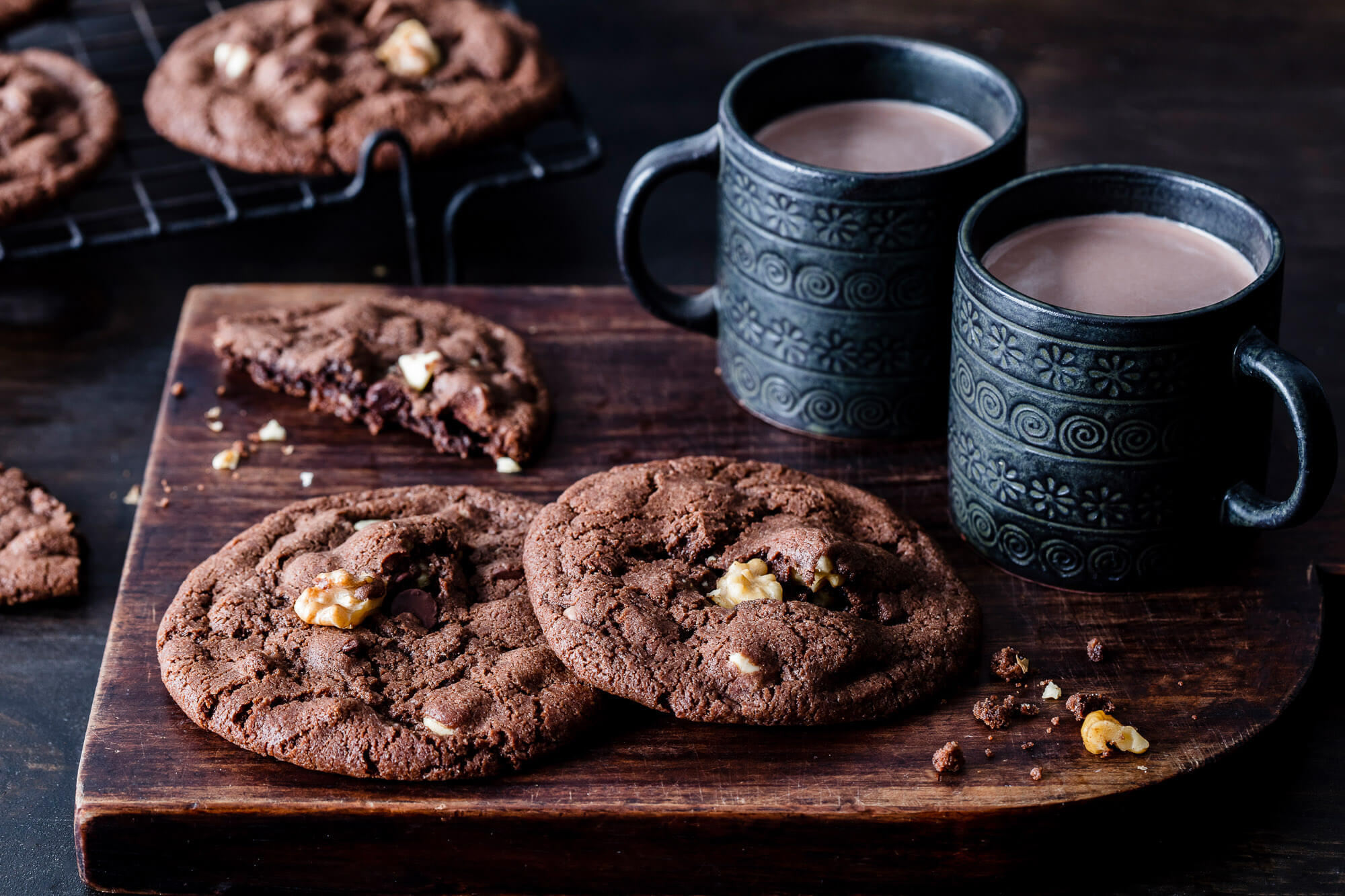 Walnut Triple Chocolate Cookies